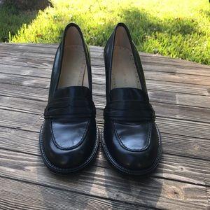 Black Chunky Heel Leather Antonio Melani SZ 9M